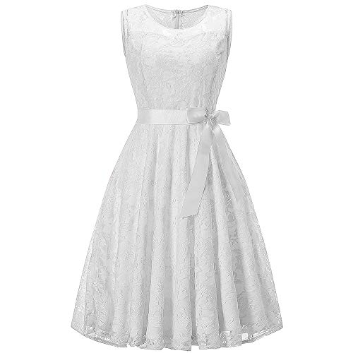 iZHH Womens Sleeveless Formal Ladies Wedding Bridesmaid Lace Hollow Out Long -