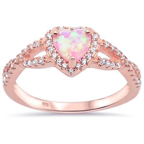 Pink Ring Rose (Oxford Diamond Co Sterling Silver Heart Halo Simulated Gemstone Promise Ring All Colors Available (Rose Gold Plated Pink Opal, 9))