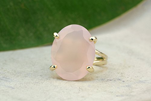 Pink chalcedony ring,simple cocktail ring,gold ring,rose gold ring,pink ring,prong ring,claw ring,solid gold - Solid Gold Pr