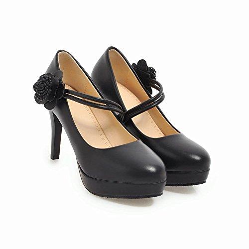 Mee Shoes Damen High Heels Blume Plateau Klettband Pumps Schwarz