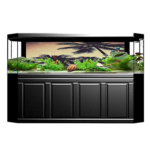 - Fish Tank Decorations Tropical Sepia Tones Print HD Fish Tank Decorations Sticker L23.6 x H19.6