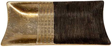 Benera Decoratieve schaal rechthoekig decoratief bord moderne tafeldecoratie decoratief goud bruin patroon 39 x 18 cm