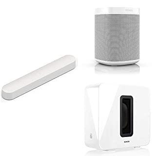 Sonos 5.1 Surround Set - Home Theatre System with Beam, Sub and a set of two Sonos One Speakers. Compact Smart TV Sound bar with Amazon Alexa voice control built-in. (White) (B07PCLZV3N) | Amazon price tracker / tracking, Amazon price history charts, Amazon price watches, Amazon price drop alerts
