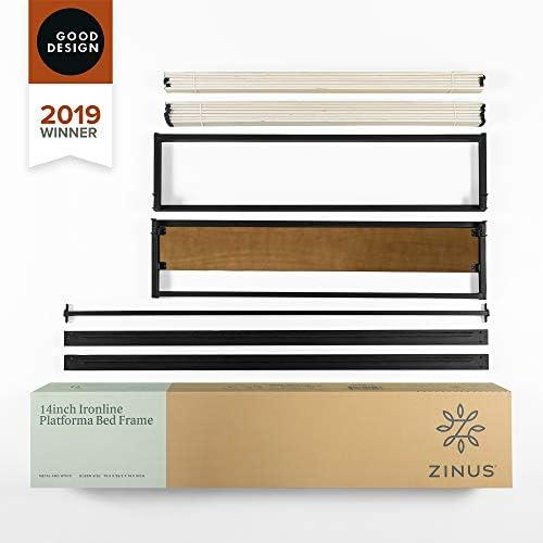 ZINUS GOOD DESIGN Award Winner Suzanne 14 Inch Metal and Wood Platforma Bed Frame / No Box Spring Needed / Wood Slat Suport, Brown, Queen 41OeXwzADfL