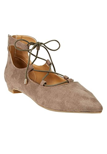 Comfortview Womens Plus Size Odell Leather-Like Flats Dark Taupe a4DKS