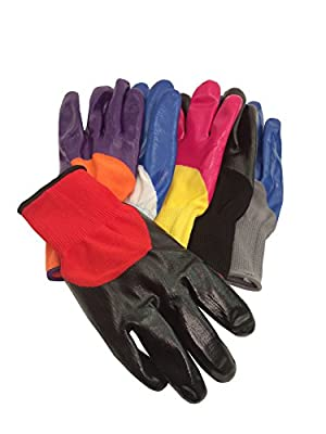 6 pack Imperial Seamless Knit Nylon Work Garden Gloves- assorted colors