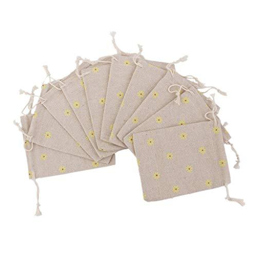 - BROSCO 10 Hessian Linen Burlap Drawstring Jute Gift Christmas Favors Bags Pouches