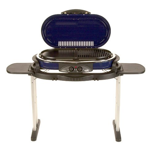 UPC 794677056216, Portable RoadTrip 2 Burner Grill 285 sq. inches Cooking Surface with Stand, Lid, and Removable Tray 3' H x 1' 10'' W x 1' 1'' D