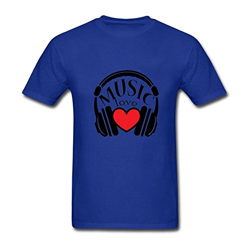 [I Love Music Headphones Short Sleeve Costume T-Shirt Mens Royal Blue XS] (Rock And Roll Costume Ideas For Men)