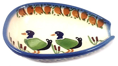 spoon-rest-condiment-bowl-ducks-polish-pottery-stoneware