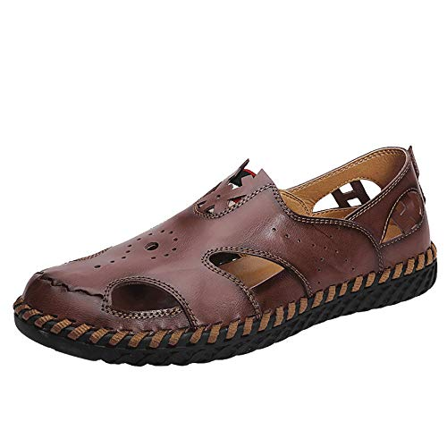 (JAMON Men's Sports Sandals Driving Shoes Summer Leather Outdoor Fisherman Sandal Flats Boat Shoes Breathable Slip-on Beach Sandals (11.5 M US, Dark-Brown))