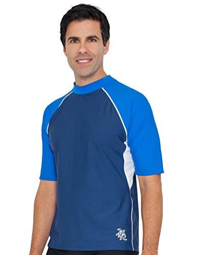 Blue Mens Rash Guard (Tuga Men's UPF 50+ Short Sleeve Rash Guard, Blue/White, XL)