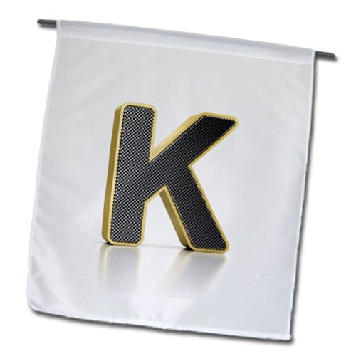 Carsten Reisinger Illustrations - Monogram letter K in golden metal with perforated front in gray - Flags - 12 x 18 inch Garden (Perforated Monogram)