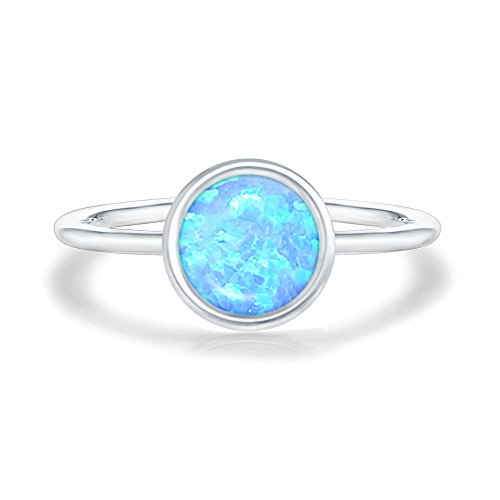 PAVOI 14K White Gold Plated Stackable Ring Created Blue Opal Stacking Ring