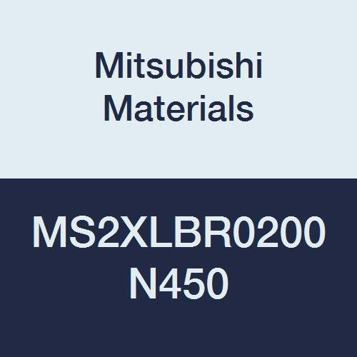 Mitsubishi Materials MS2XLBR0200N450 Carbide Mostar Ball Nose End Mill Long Neck 4 mm Cutting Diameter 45 mm Neck Length 2 Short Flutes 2 mm Corner Radius