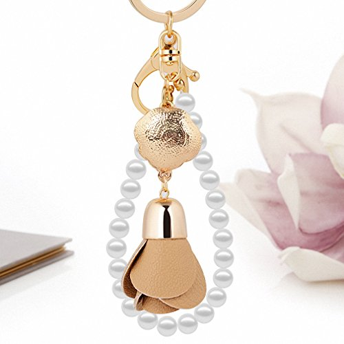 Womens Leather Flower Pendant Women Car Keychain Luxury Pearls Band Key Ring Holder Girls Bags Charm Good Gift for Friends White