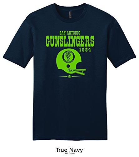 Throwbackmax 1984 USFL San Antonio Gunslingers Football Tee Shirt (XL, True Navy)
