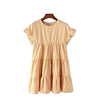 Aabigale Pretty Women Sweet Ruffles Plaid Pleated Dress Checked Short Sleeve O Neck Ladies Summer Casual
