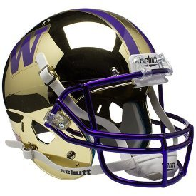 Unsigned Washington Huskies Gold Chrome Scutt Replica Full Size Helmet
