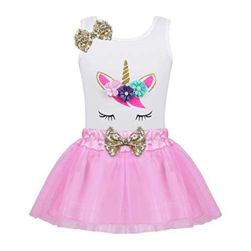 YiZYiF Little Girls Toddler Fancy Sequin Bows Birthday Outfit Novelty Pastel Flowers Shirt with Tulle Tutu Skirt Set Pink 18-24 -