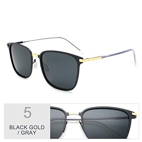 de Square para de TL hombres conducción Oro de gafas Black sol Negro sesgados Classic luces gafas Gray gris delgado Sunglasses ultra Gold q6x6YE7