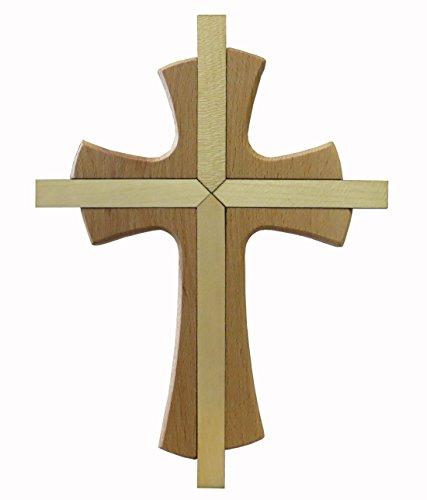 Kaltner Präsente Geschenkidee - Wandkreuz Echtes Holz Buche Kreuz Kruzifix für die Wand 25 cm modern