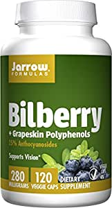 Jarrow Formulas Bilberry and Grapeskin Polyphenols 280 mg, Supports Vision, 120 Capsules