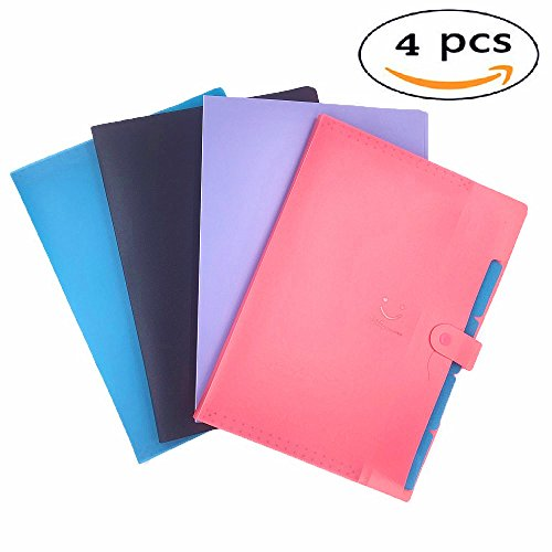 5 Pockets Expanding File Folders A4 Plastic Multicolored Letter Size Snap Closure Document File Organizer- Set of 4