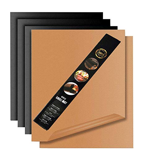 Miroksh Copper Grill Mat,Non Stick BBQ Baking Mat Set of 5 Reusable,Easy to Clean PTFE Teflon Fiber Grill Roast Sheets for Gas, Charcoal, Electric Grill (Gold and Black by Miroksh