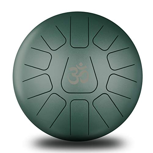 Design Steel Tongue Percussion Drum Green Colored 11 Notes Hand Tank Drum Handpan Padded Travel Carrier+Mallet 10″