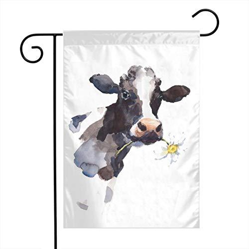 Private Bath Customiz Cow Farmhouse Animal Painting Art Garden Yard Flag Welcome House Flag Banners for Patio Lawn Outdoor Home Decor]()
