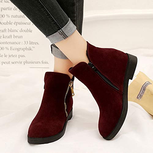 Femme Chaussures Hiver Haut 35 Taille Double Éclair Talon Bottes Fermeture Bottines 2cm Manadlian De 40 Rouge Bloc Chaud Imperméable Neige Awq4nE