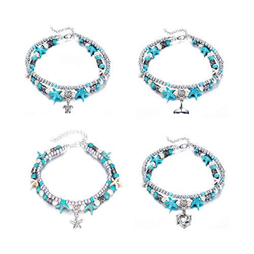 (Yotarky 4 Pack Blue Turtle Starfish Anklets Multilayer Charm Beads Handmade Beach Ankle Bracelet Set Boho Foot Jewelry for Women Girls)