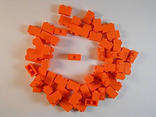 LEGO 1X2 BRICKS. LOT OF 50. ORANGE. BRAND NEW!