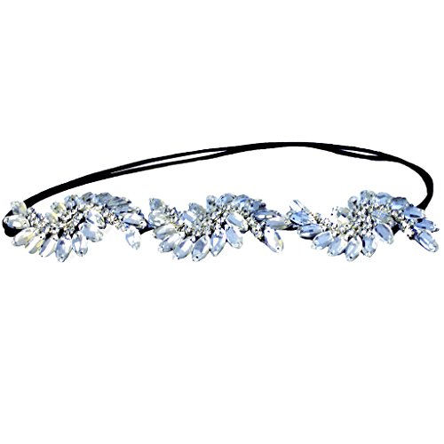 Mia Embellished Beautiful Headband-Large Clear Marquis Diamond Shaped Glass Rhinestones-Great for Weddings-Velvet Lined-Elastic-One Size Fits All! (1 piece per - Glasses Hermes