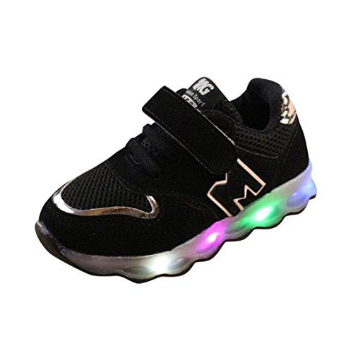 VENMO Kleinkind Kinder Mesh Schuhe Kinder Babyschuhe LED leuchten leuchtende Turnschuhe Schuhe Weiche Segeltuch-Schuhe Sneakers Turnschuhe Freizeitschuhe Laufschuhe Sportschuhe Turnschuhe Black