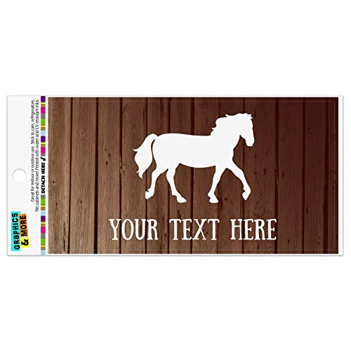 Graphics and More Personalized Custom 1 Line Horse Silhouette on Wood Automotive Car Refrigerator Locker Vinyl Magnet