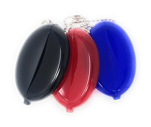 Oval Rubber Coin Purse Change Holder With Chain By Nabob (Blue Red Black)