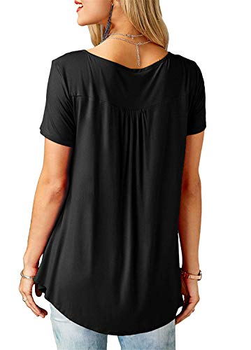 f26327f168d Kissmoda Camisas Informal Volantes Larga negro Manga Con Color Túnica  Sólido Blusa Mujer De S qa6WwBFdqS