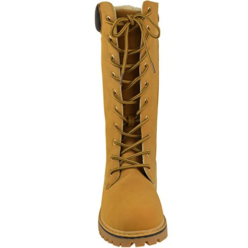 Faux Womens Nubuck Cold Army Fashion High Thirsty Winter Winter Combat Boots Knee Size Honey Shoes 5xHSOaHqw6