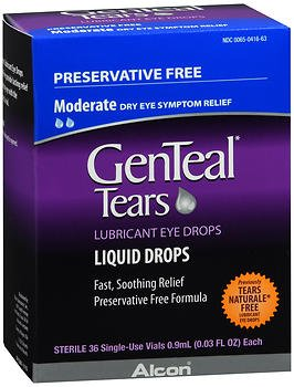 (GenTeal Tears Liquid Drops, Single-Use Vials - 36 ct, Pack of 3)