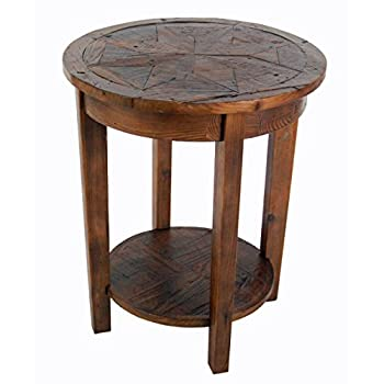 Image of Renew Reclaimed Wood 20' Round End Table, Natural Home and Kitchen