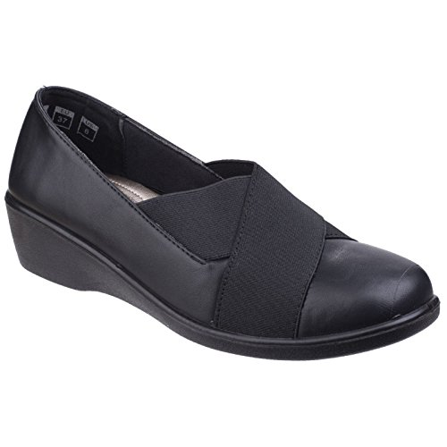 Elasticated Fleet On Black Limba Shoes Slip Ladies Court Foster amp; Womens F604q