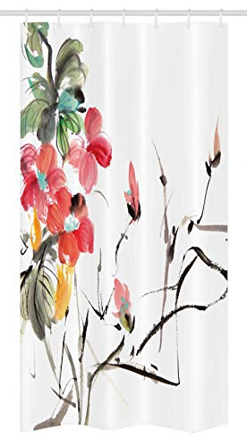 Ambesonne Japanese Stall Shower Curtain, Popular Early Period Asian Watercolors Print with Vivid Floral Motifs Art Picture, Fabric Bathroom Decor Set with Hooks, 36 W x 72 L inches, Multicolor