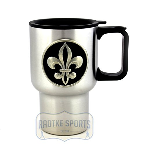 - New Orleans Saints 14 oz. Stainless Steel Travel Mug - Black Enamel Emblem