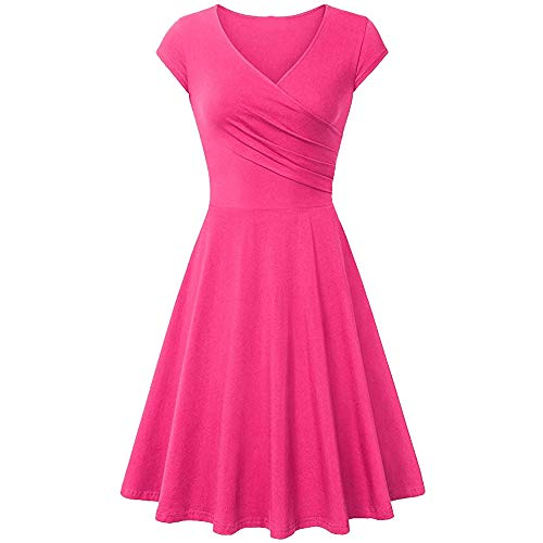Dresses for Women Chaofanjiancai Summer Cross V- Neck Cap Sleeve Dress Vintage Elegant Flared A-Line Dress (M, Pink02)