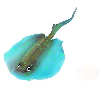 eDealMax pescado del acuario del tanque flotante Brillante efecto de emulación Manta Ray Azul