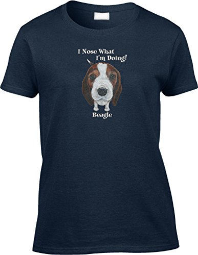 What Doggie Tee (Blittzen Womens/Ladies I Nose What I'm Doing - Beagle, 2XL, Navy Blue)