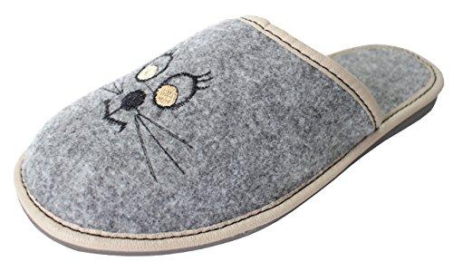 Revise Hochwertige, Bequeme Damen Hausschuhe aus Filz mit Gummisohle/Gestickte Katze