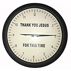 {Thank You Jesus for This Time} Wall Clock 10-Inch Black and White Wall Clock with Devotional Message - Practical and Easy to Mount – Original Housewarming Gift